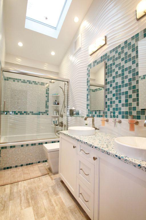 Modern Full Bathroom with Rain shower, tiled wall showerbath, Shower, Vessel sink, Double sink, shower bath combo, Wall Tiles