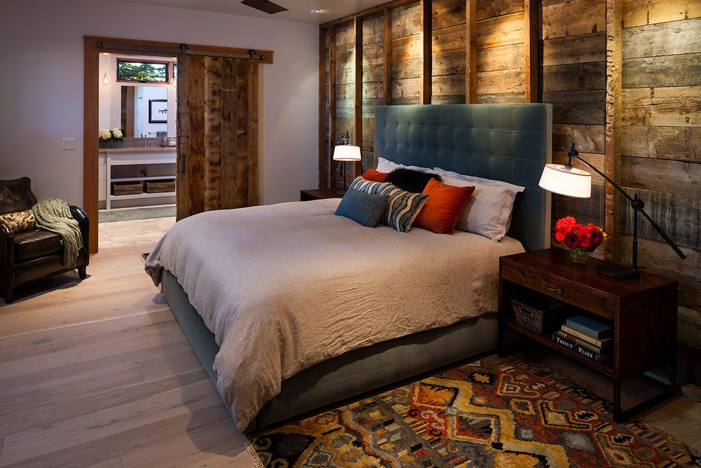 Rustic Master Bedroom with Birch - Driftscape White 5 in. Engineered Hardwood Wide Plank, Hardwood floors, Ceiling fan
