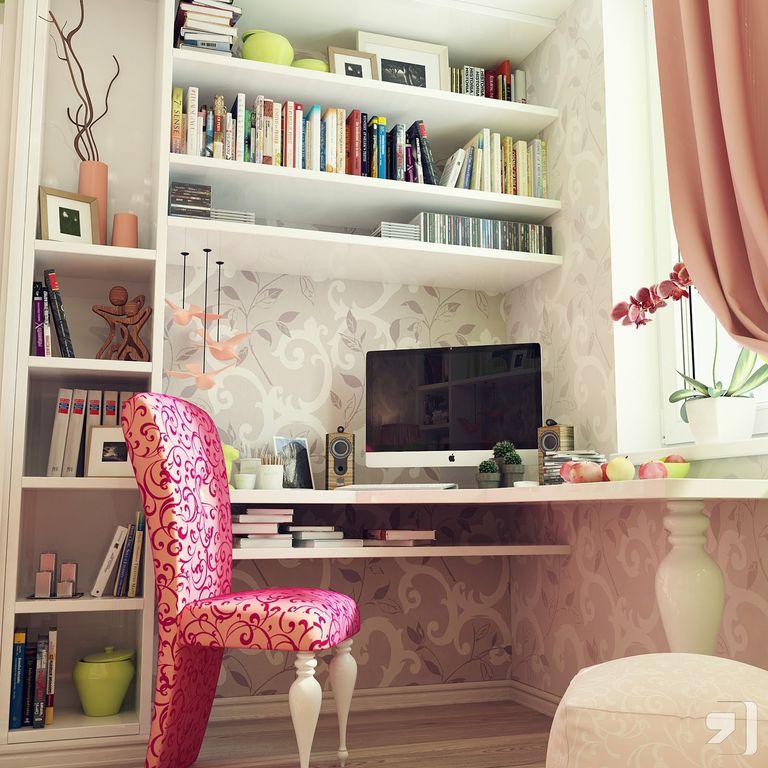 Eclectic Home Office with interior wallpaper, Built-in bookshelf, Hardwood floors, Standard height