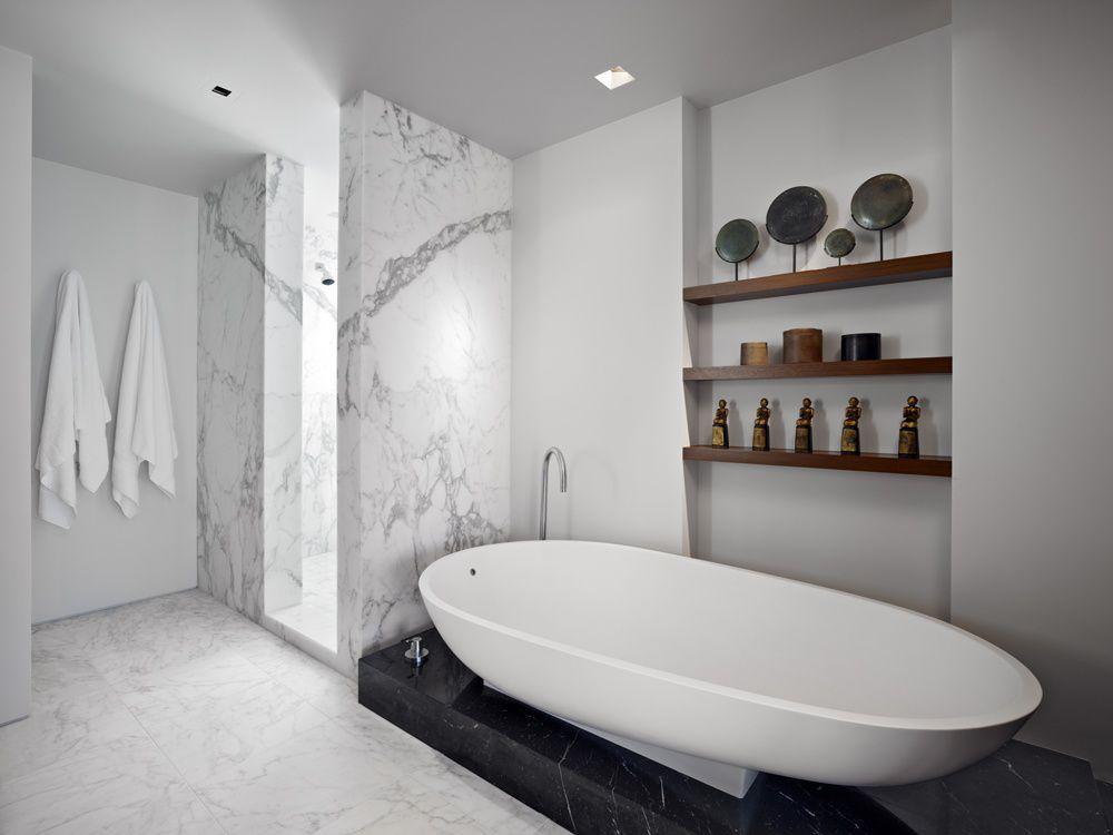 Contemporary Master Bathroom with Freestanding, Standard height, Master bathroom, can lights, no showerdoor, Shower, Bathtub