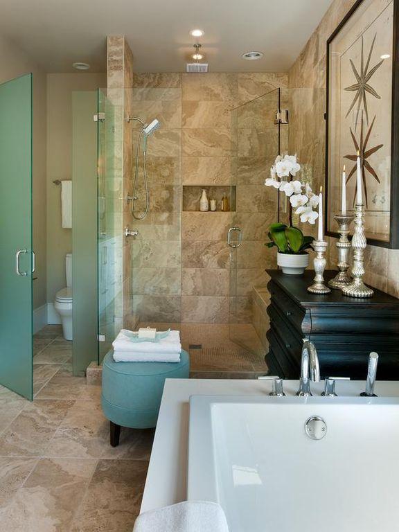 Contemporary Master Bathroom with Raised panel, full backsplash, Wall Tiles, Master bathroom, Shower, stone tile floors