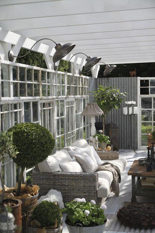 Cottage Porch with Houston international round pot planter, Screened porch, Casement, Original barn light gooseneck light