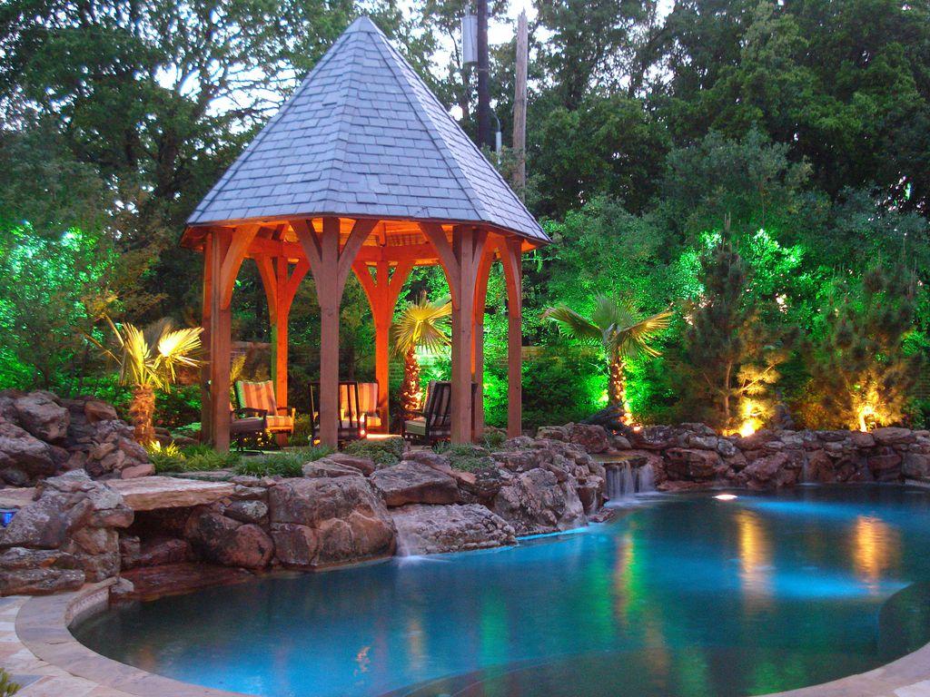 Fountain, Gazebo, Pathway, Stone, Tropical