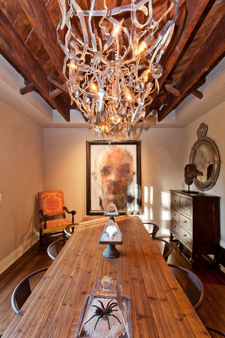 Contemporary Dining Room with Exposed beam, High ceiling, Hardwood floors, Chandelier