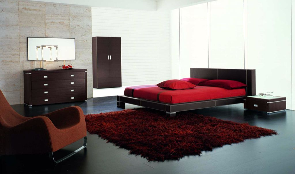 Contemporary Master Bedroom with picture window, Standard height, Hardwood floors
