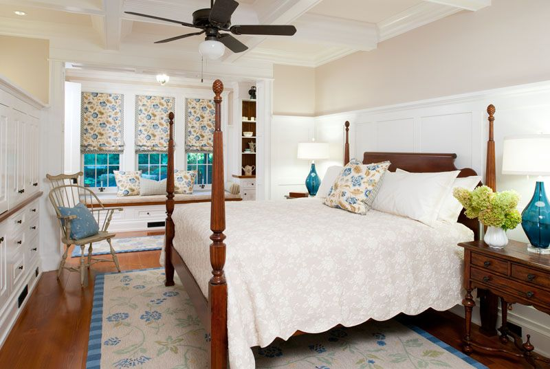 Country Master Bedroom with Tuscany 3 piece coverlet set, Standard height, Ceiling fan, Roman shades, Box ceiling, can lights