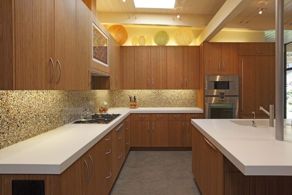 Contemporary Kitchen with Kitchen island, European Cabinets, Exposed beam, travertine tile floors, L-shaped, Simple Granite