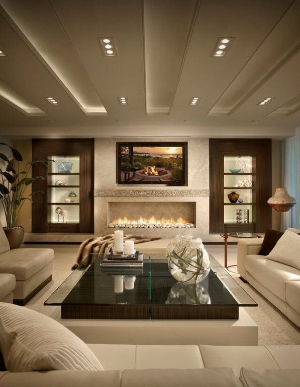 Contemporary Living Room with Standard height, Carpet, can lights, Fireplace, insert fireplace, Built-in bookshelf