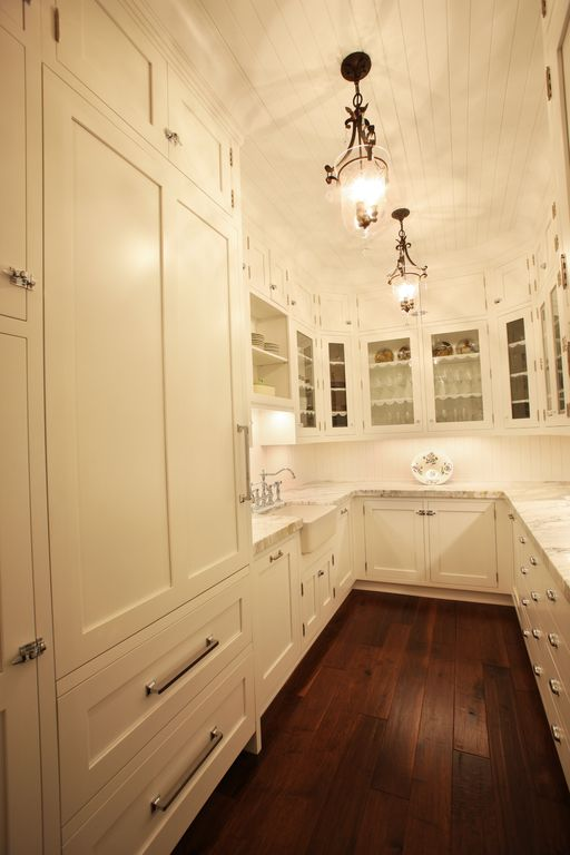 Cottage Kitchen with Pendant light, Flat panel cabinets, Farmhouse sink, Complex marble counters, Framed Partial Panel, Flush