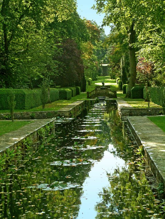 Traditional Landscape/Yard with water garden, Formal hedge, Pond, Raised beds, Pathway, Green Velvet Boxwood, Fence