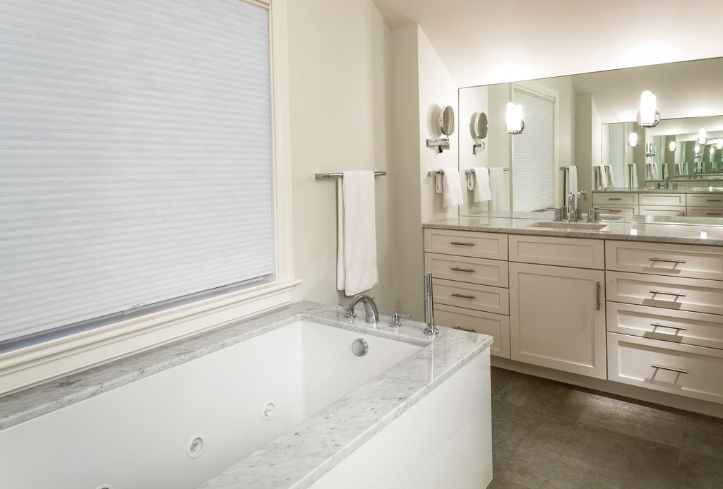 Contemporary Master Bathroom with Flush, Kohler Underscore 6 ft. Air Bath Tub in White, Undermount sink, High ceiling