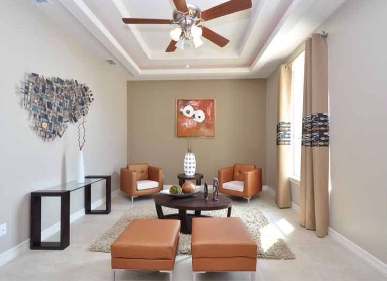 Contemporary Living Room with Standard height, Ceiling fan, Carpet