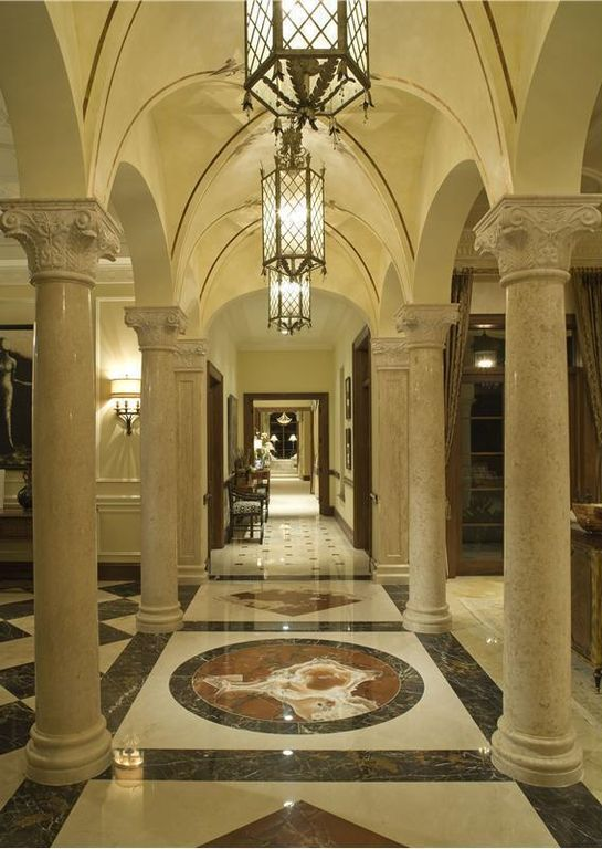 Mediterranean Hallway with ARCL-005 Columns, Gothic vault ceiling, Columns, Polished marble flooring, Paint, High ceiling