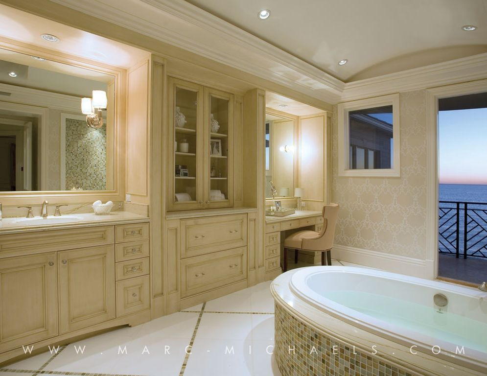 Traditional Master Bathroom with partial backsplash, High ceiling, Balcony, drop in bathtub, Crown molding, Bathtub, Casement