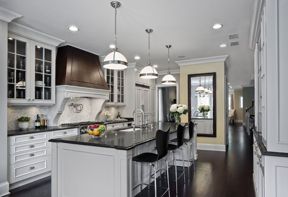 Traditional Kitchen with Modway Series 7 Chrome Base Chair Bar Stool, Undermount sink, Soapstone counters, Kitchen island