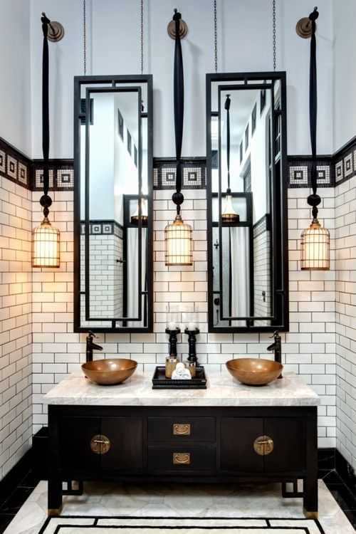 Traditional Master Bathroom with Black scroll full length mirror, Complex marble counters, European Cabinets, Vessel sink