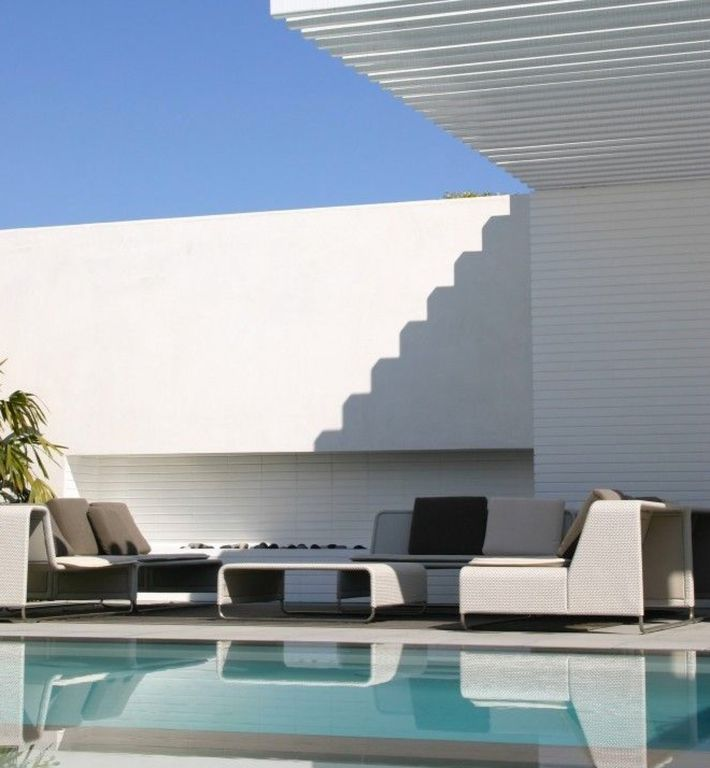Contemporary Swimming Pool with Fire pit, Fence, Other Pool Type