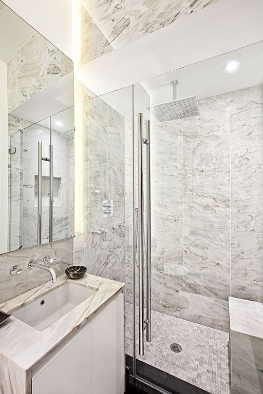 Contemporary 3/4 Bathroom with Complex Marble, Signature hardware square rainfall shower head, Complex marble counters, Flush