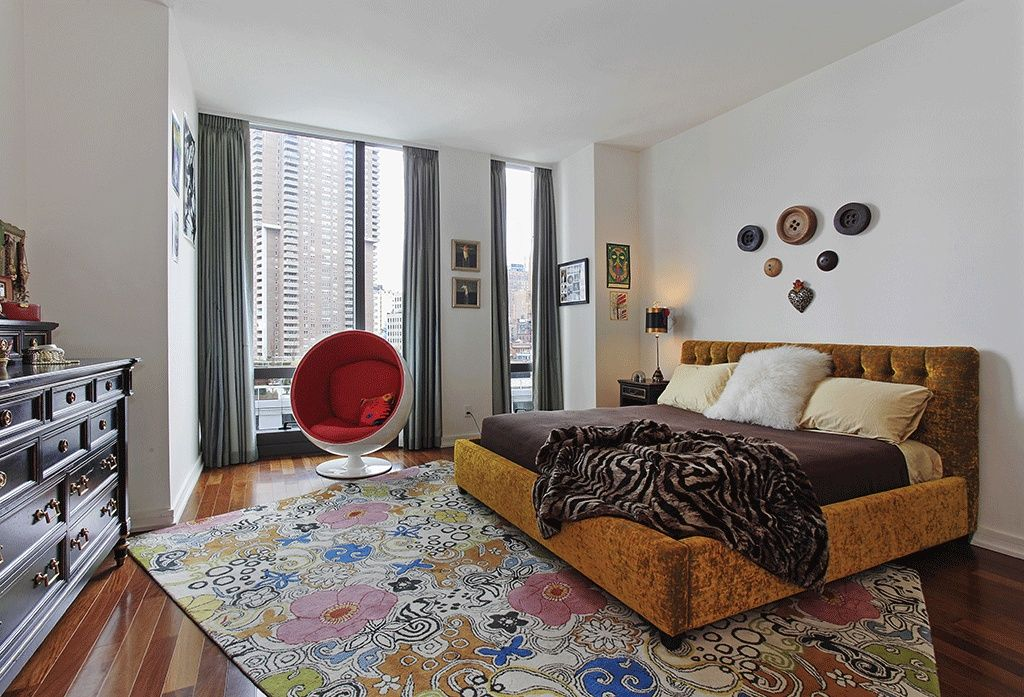 Eclectic Master Bedroom with picture window, Hardwood floors, High ceiling