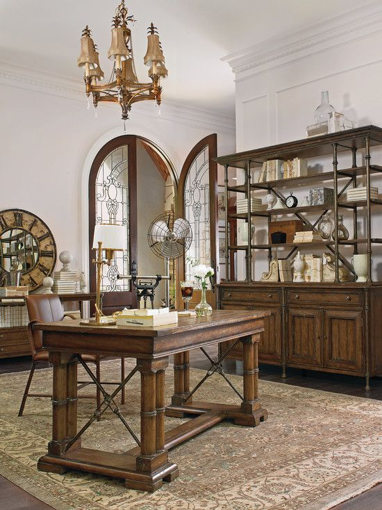 Traditional Home Office with Hardwood floors, French doors, Standard height, Arched door, Oriental rug, Crown molding