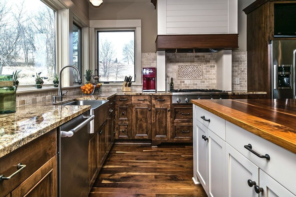 Craftsman Kitchen with Limestone Tile, L-shaped, Wall Hood, dishwasher, Farmhouse sink, Paint 2, electric cooktop, Stone Tile