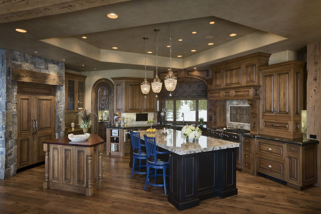 Rustic Kitchen with Large Ceramic Tile, Crystorama Calypso 1 Light Mini Pendant, Complex granite counters, Wood counters