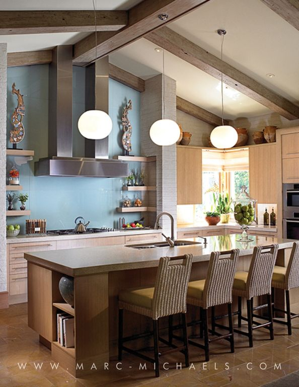 Contemporary Kitchen with double wall oven, Paint 1, L-shaped, full backsplash, Standard height, stone tile floors, Paint 2