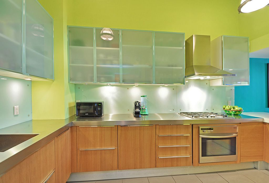 Modern Kitchen with Wall Hood, Stainless steel counters, European Cabinets, Paint 3, Undermount sink, L-shaped, Custom hood
