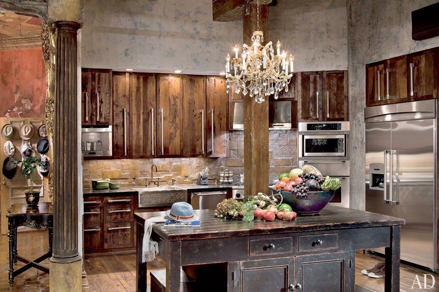 Eclectic Kitchen with Chandelier, High ceiling, European Cabinets, L-shaped, Stone Tile, Farmhouse sink, Kitchen island