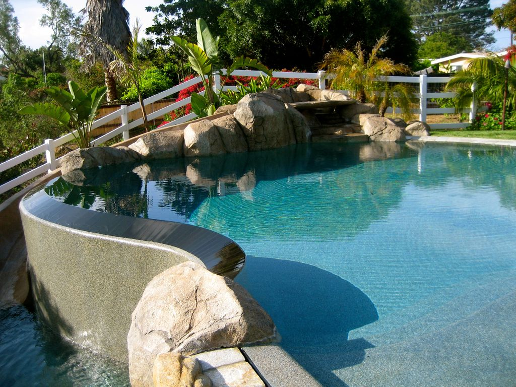 Rustic Swimming Pool with Fence, Other Pool Type, exterior stone floors, Pathway