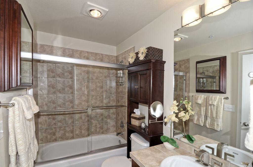 Traditional Full Bathroom with drop in bathtub, Filament Design Negron 3-Light Chrome Halogen Bath Vanity Light, Shower