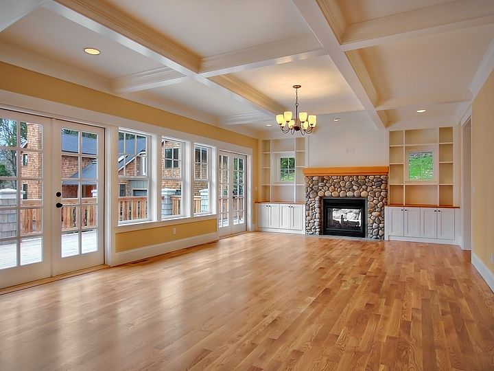 Traditional Great Room with Roan timber empyreal transitional six light chandelier, Fireplace, Standard height, Paint 2