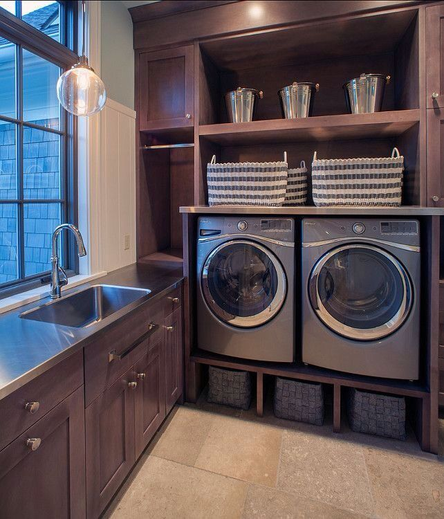 Traditional Laundry Room with Wainscotting, Undermount sink, Built-in bookshelf, Custom Stainless Steel Countertop