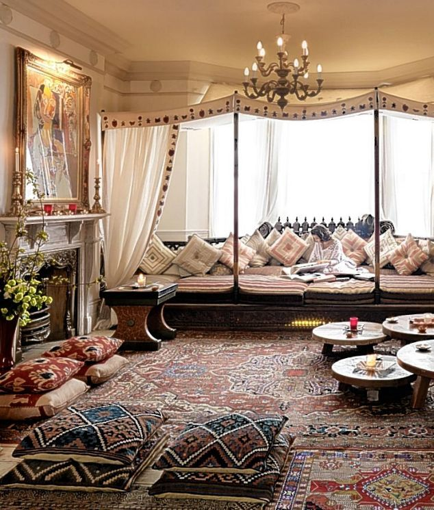 Mediterranean Living Room with Chandelier, Moorish style, Fireplace, Canape, Standard height, Chair rail, picture window
