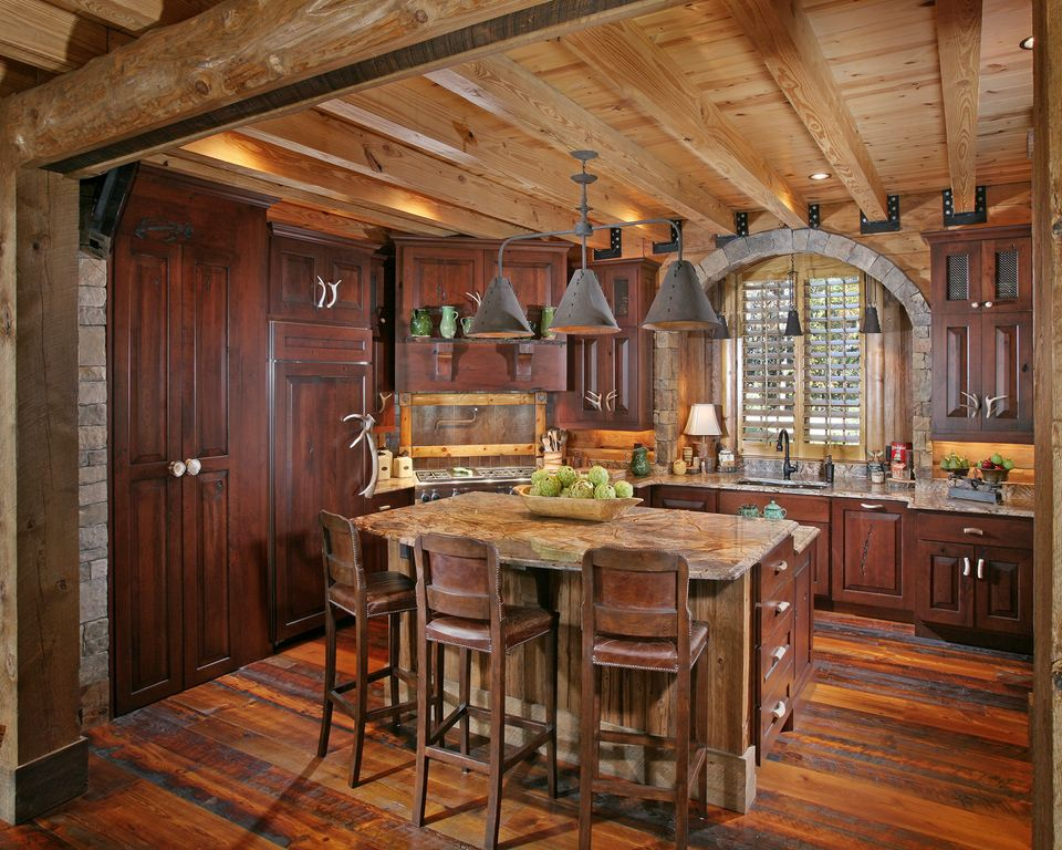 Rustic Kitchen with One-wall, Limestone Tile, Pendant light, Onyx counters, specialty door, Onyx, flush light, Exposed beam