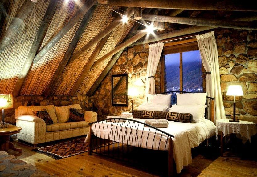 Eclectic Master Bedroom with High ceiling, Hardwood floors, can lights, Casement, Exposed beam