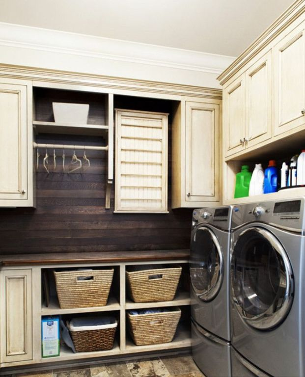 Traditional Laundry Room with Inset cabinets, Pottery barn small savannah underbed baskets