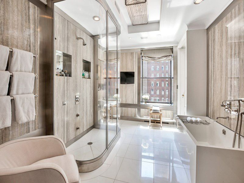 Contemporary Master Bathroom with Shower, Large Ceramic Tile, Freestanding, Master bathroom, can lights, specialty door
