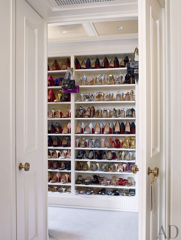 Traditional Closet with Standard height, Built-in bookshelf, Crown molding, Box ceiling, Woman's shoe storage open shelving