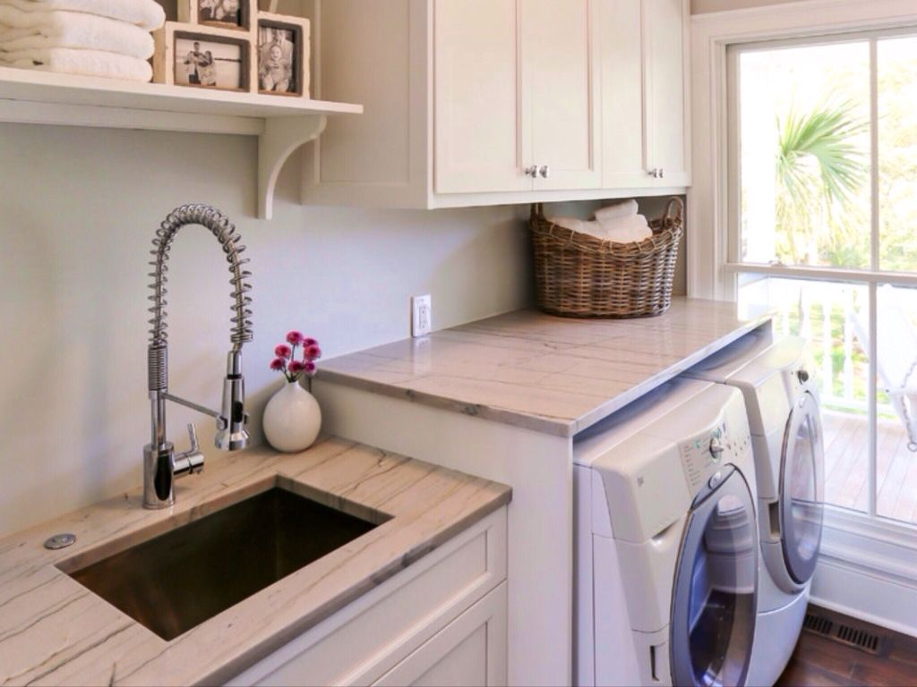 Cottage Laundry Room with Undermount sink, Built-in bookshelf, Standard height, double-hung window, Paint 1, laundry sink