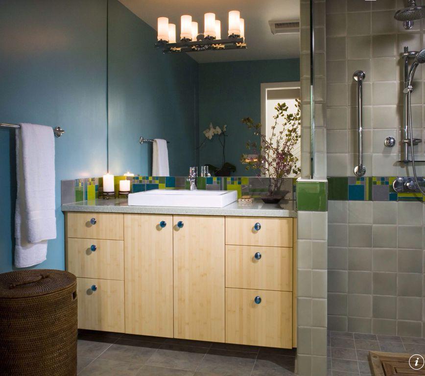 Modern 3/4 Bathroom with Bamboo bathroom vanity, partial backsplash, Casement, frameless showerdoor, Ceramic Tile, Paint 1