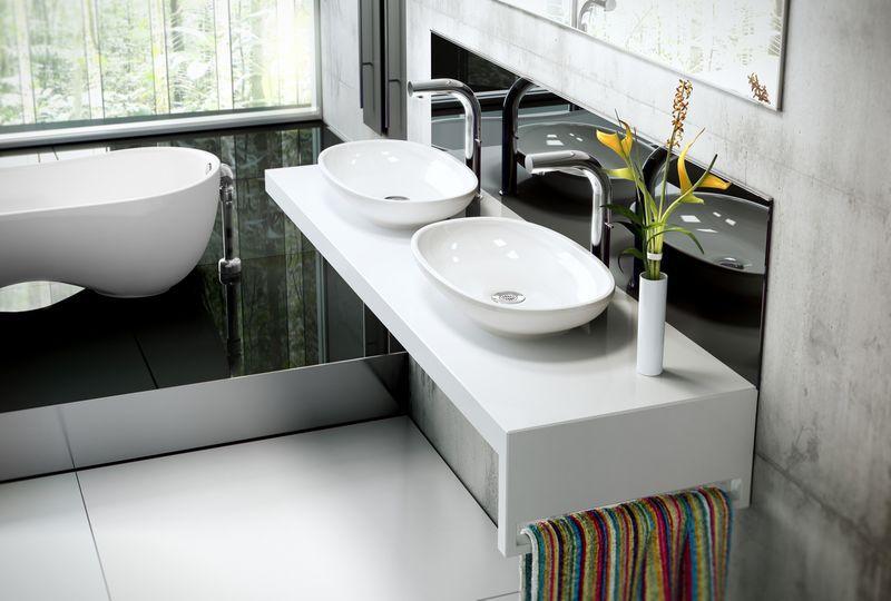 Contemporary Master Bathroom with full backsplash, Concrete tile , Master bathroom, Vessel sink, Stainless Steel, Bathtub