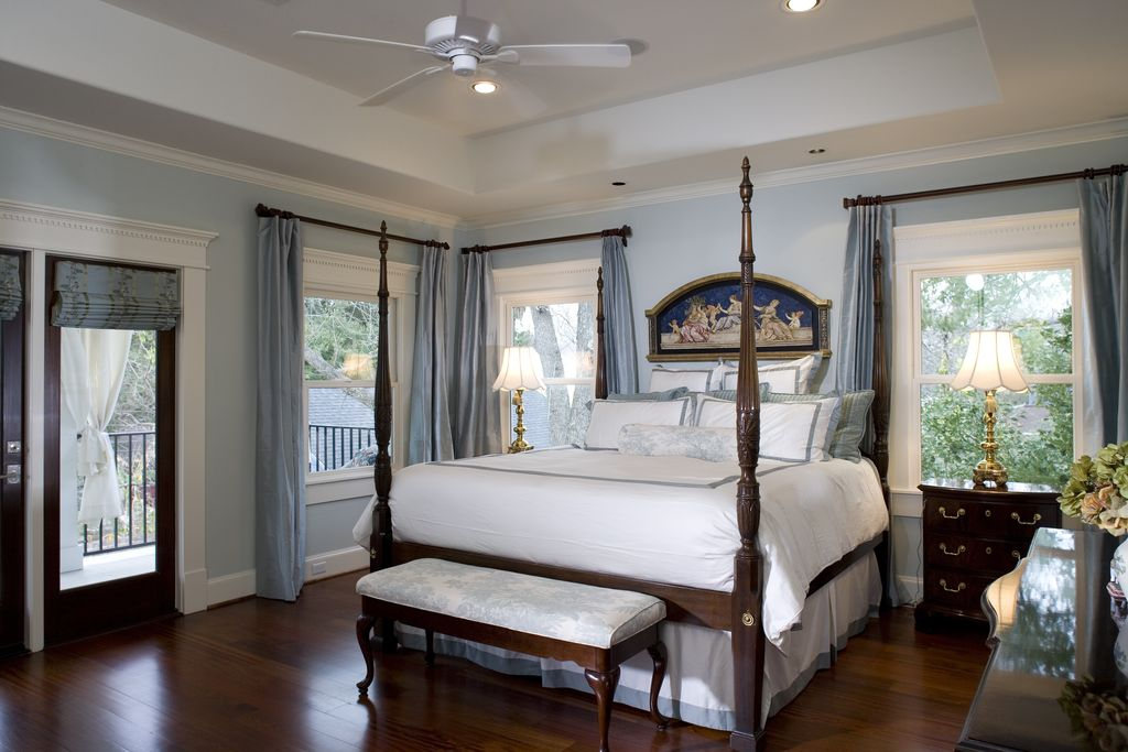 Traditional Master Bedroom With Glass Panel Door By