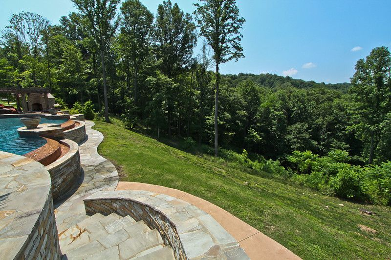 Rustic Landscape/Yard with Pathway, Trellis, Other Pool Type, exterior stone floors