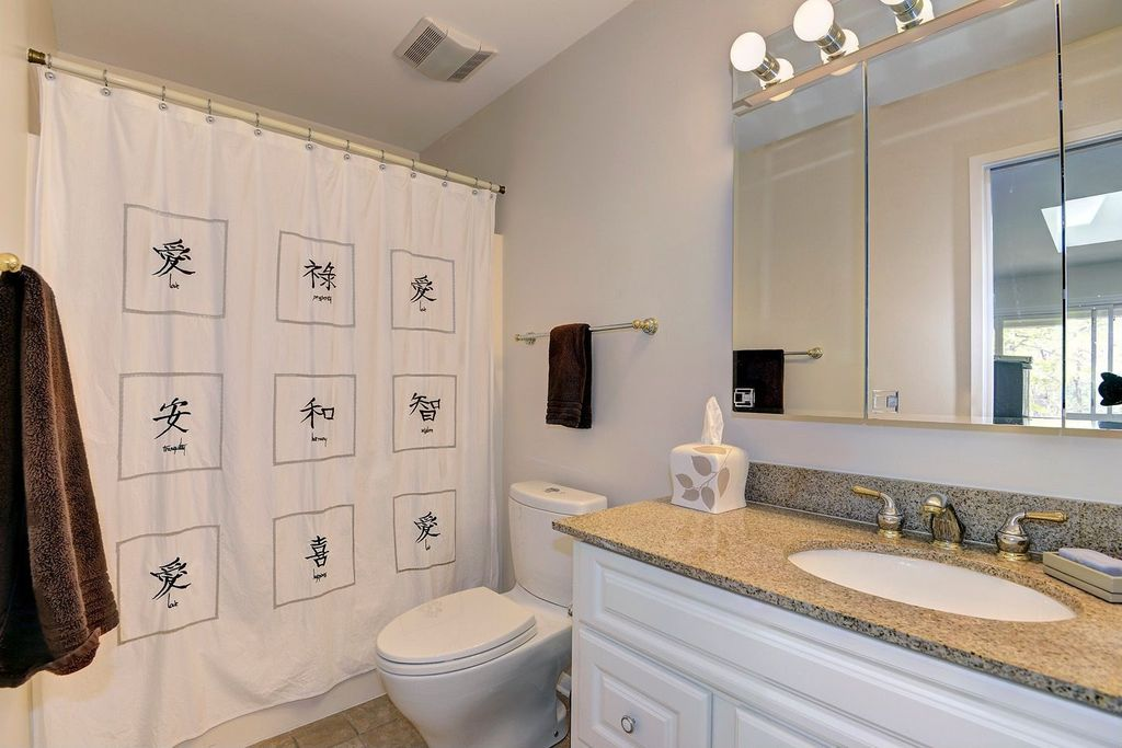 Traditional Full Bathroom with Inset cabinets, limestone tile floors, Raised panel, Simple granite counters, Undermount sink