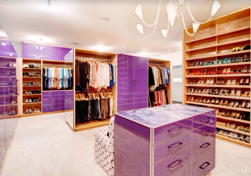 Eclectic Closet with Shoe storage, Paint 1, flush light, Carpet, Built-in bookshelf, Chandelier, Standard height, can lights