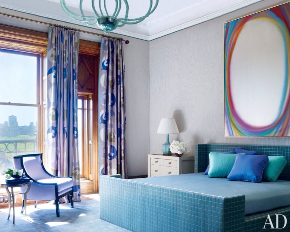 Modern Master Bedroom with The Pillow Collection Fanceen Plain Pillow - Indigo, Crown molding, Paint 1, Standard height