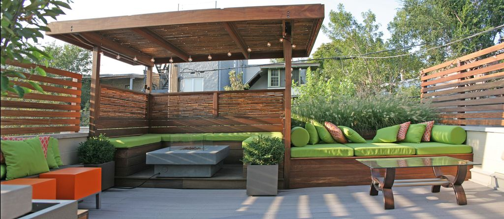 Contemporary Deck with Fire pit, exterior stone floors, Coral Coast Valencia Outdoor Toss Pillow - 20 x 20 in., Fence