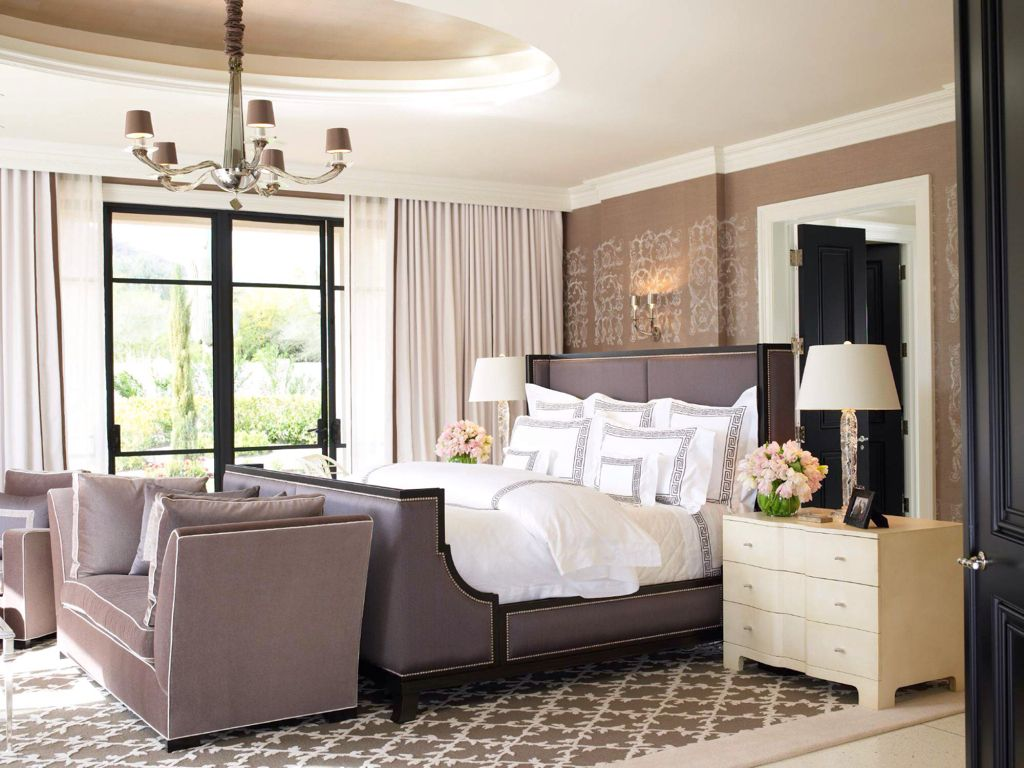 Traditional Master Bedroom with six panel door, Chandelier, Standard height, Paint, Jar designs 'claybourne' daybed
