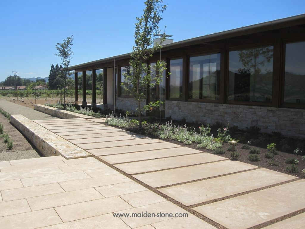 Modern Landscape/Yard with picture window, exterior concrete tile floors, exterior tile floors, French doors, Pathway